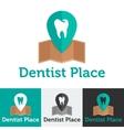 Flat dental clinic logo set vector