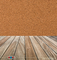Cork board and wood floor vector