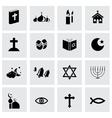 Black religion icons set vector