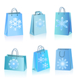 Blue paper bags with snowflakes icon vector