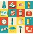Flat sticker colorful tourist equipment vector