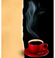 Background with cup of coffee and old paper vector