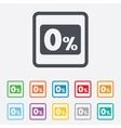 Zero percent sign icon zero credit symbol vector