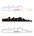 Bellevue skyline linear style with rainbow vector