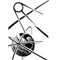 Sputnik over earth vector