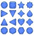 Blue glass buttons set vector
