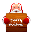 Santa claus and wooden sign vector