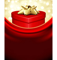 Red gift heart with gold bow vector