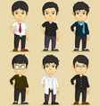 Handsome young man character set vector