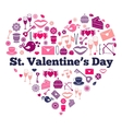 Attributes of valentines day on heart shape vector