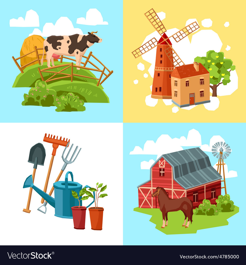 Farm design flat concept set vector | Price: 3 Credit (USD $3)