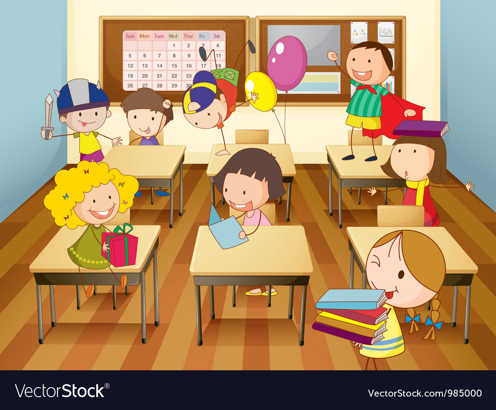 Kids in classroom vector | Price: 1 Credit (USD $1)