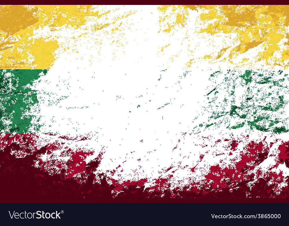 Lithuanian flag grunge background vector | Price: 1 Credit (USD $1)