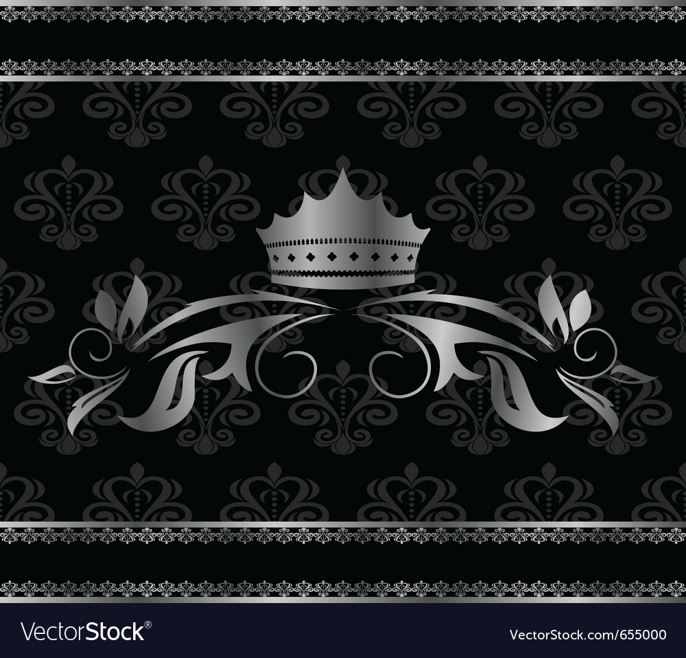 Luxury vintage aluminum frame template with crown vector | Price: 1 Credit (USD $1)