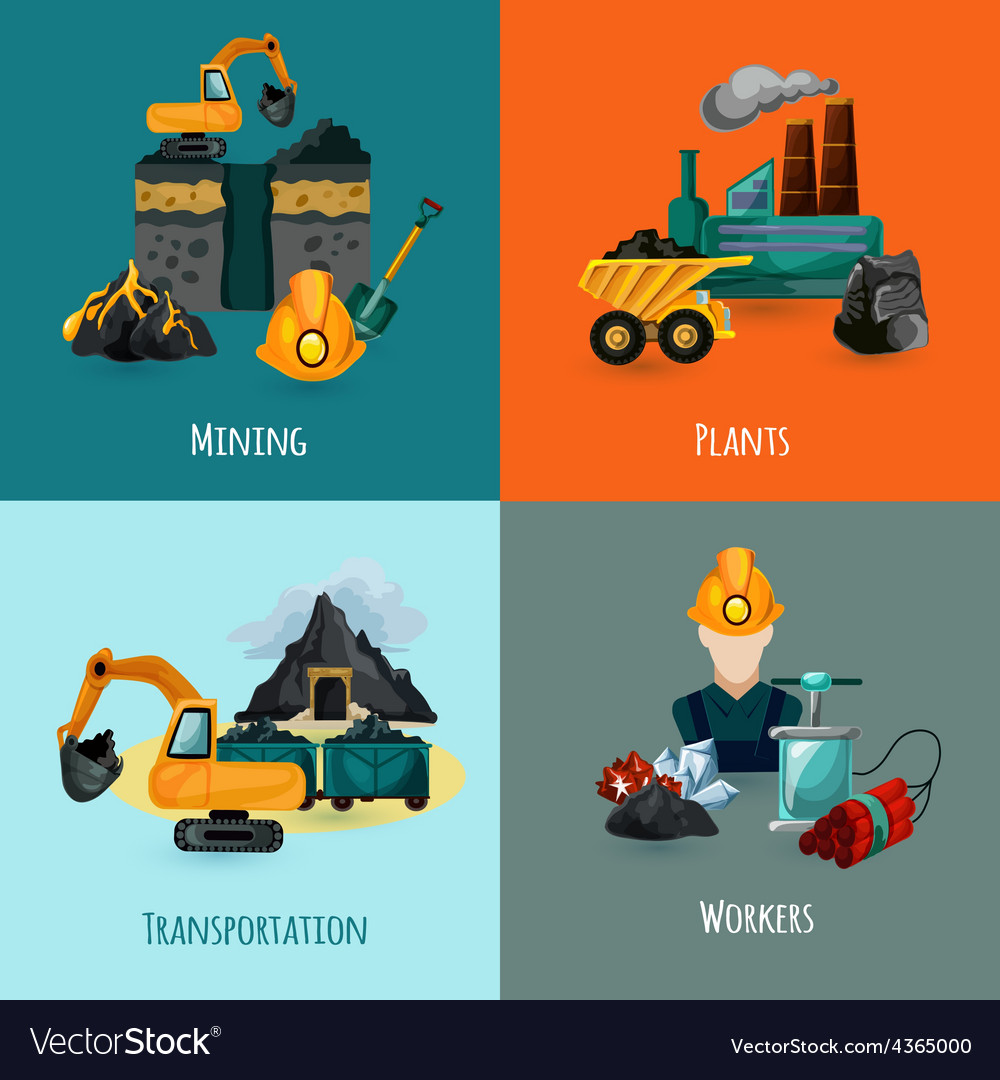 Mining icons set vector | Price: 1 Credit (USD $1)