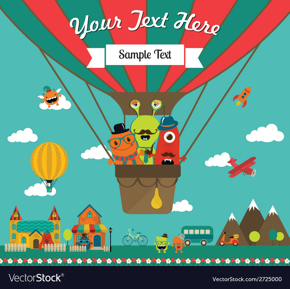 Monster greeting card design vector | Price: 1 Credit (USD $1)