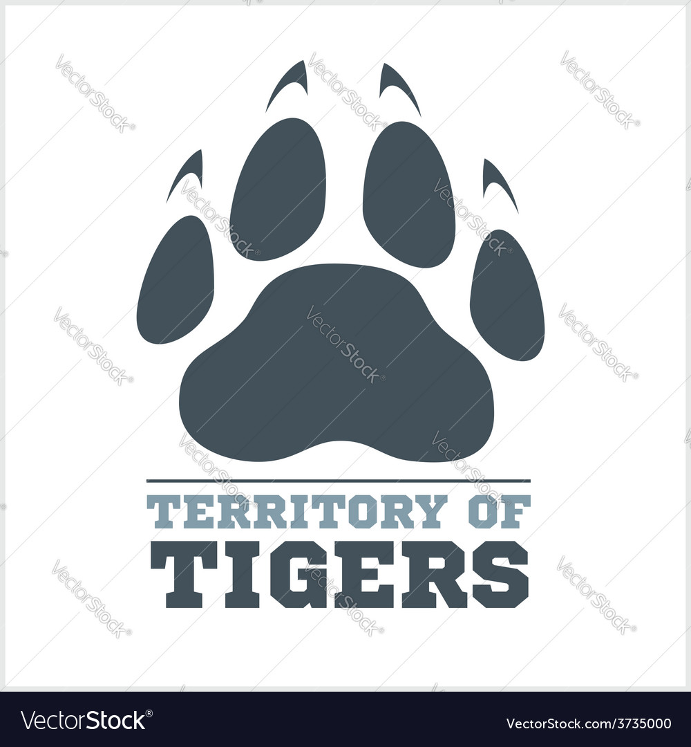 Tiger footprint and fire on light background vector