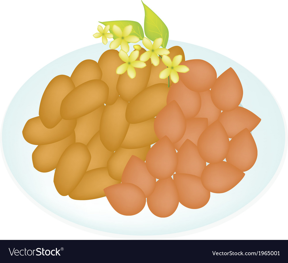 A traditional thai dessert golden sweet meat vector | Price: 1 Credit (USD $1)
