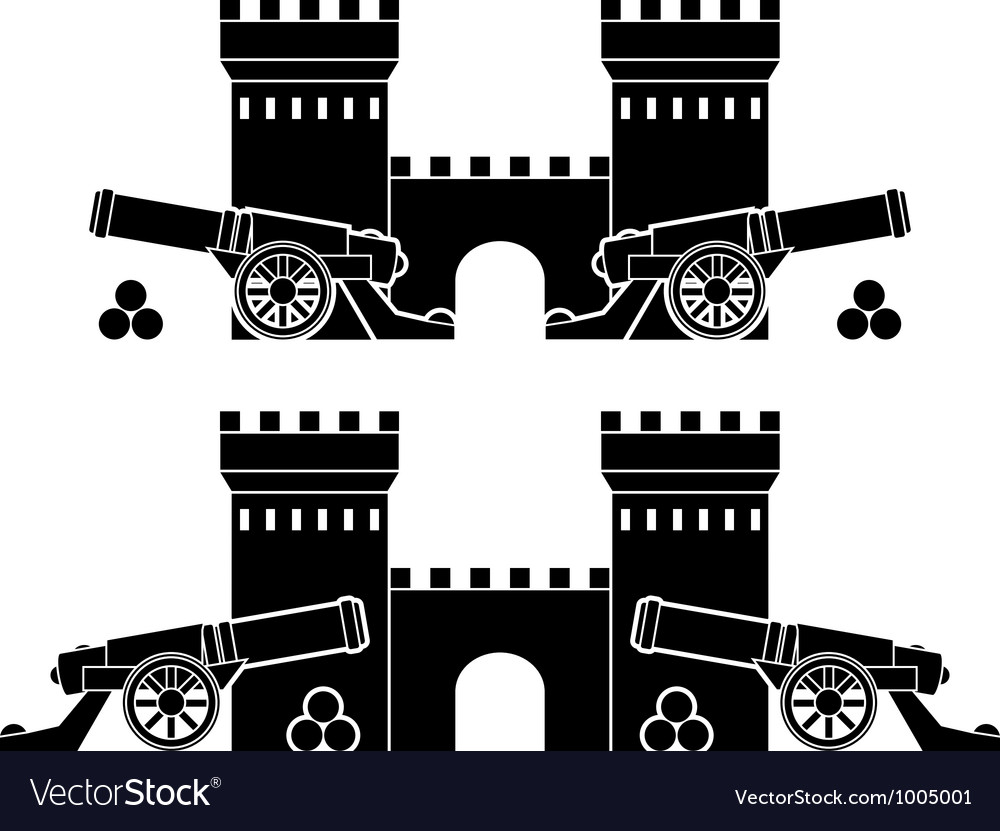 Castle and guns with kernels vector | Price: 1 Credit (USD $1)