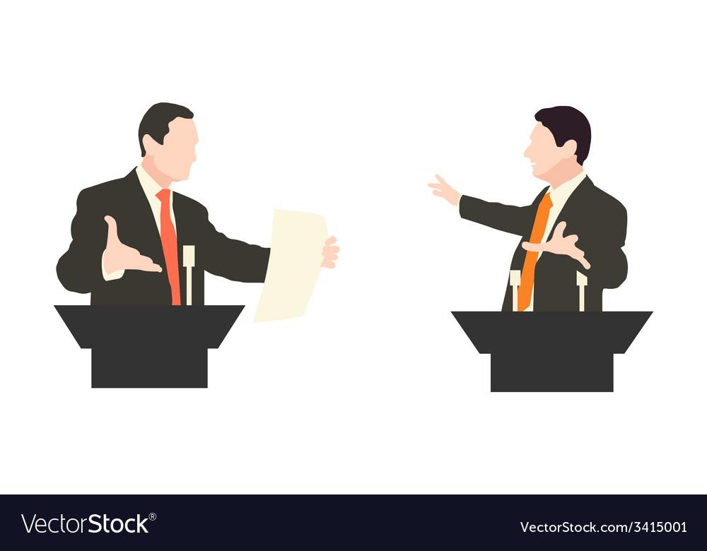 Debate two speakers political speeches debates vector | Price: 1 Credit (USD $1)