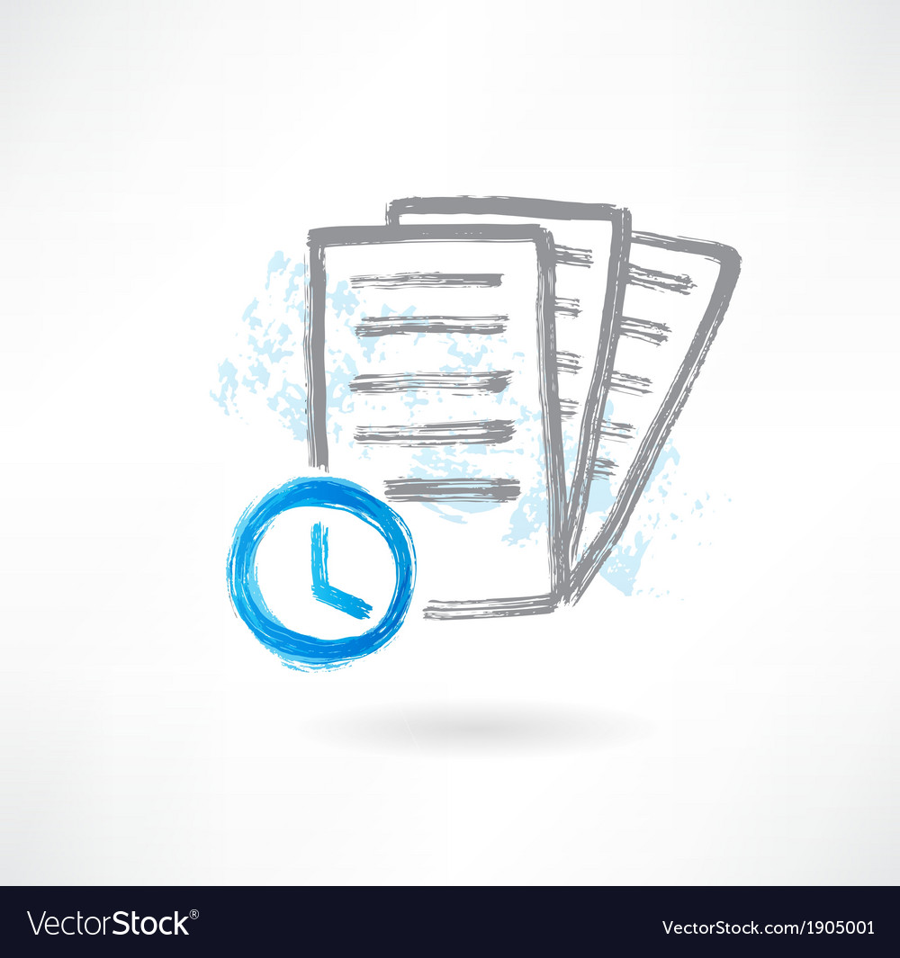 Document with clocks grunge icon vector | Price: 1 Credit (USD $1)