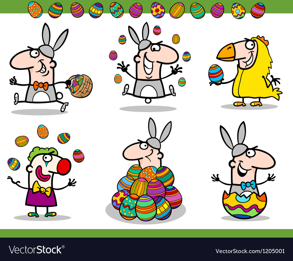 Easter themes set cartoon vector | Price: 3 Credit (USD $3)