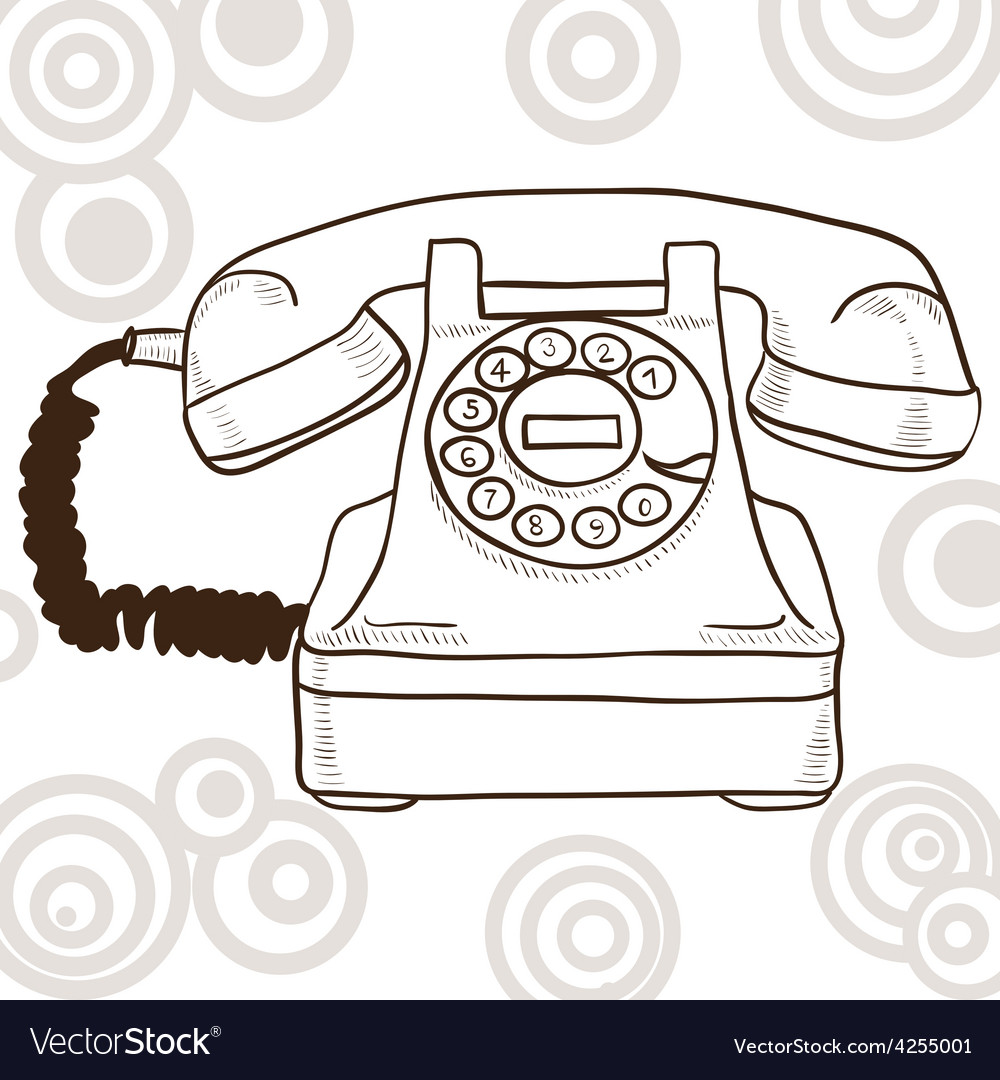 Old vintage telephone - retro vector | Price: 1 Credit (USD $1)