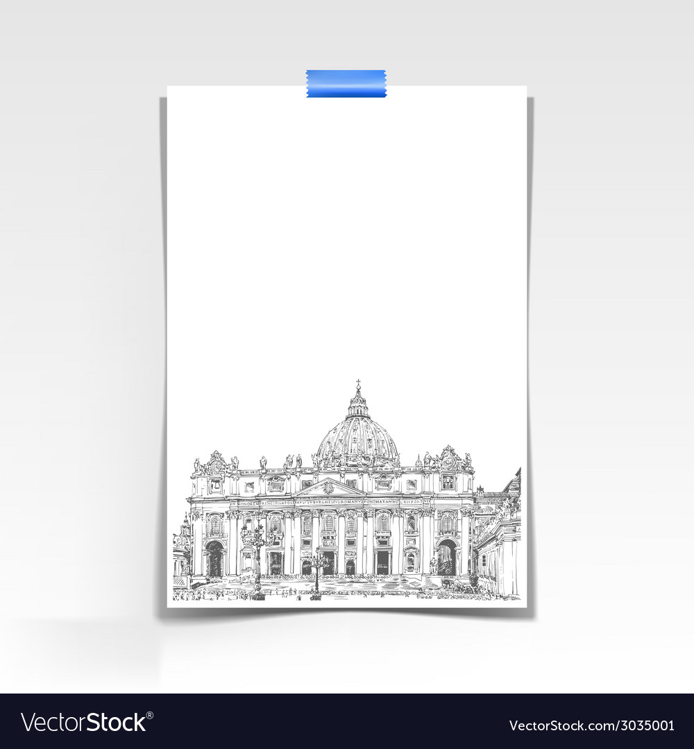 Paper sheet with a picture of st peters cathedral vector | Price: 1 Credit (USD $1)