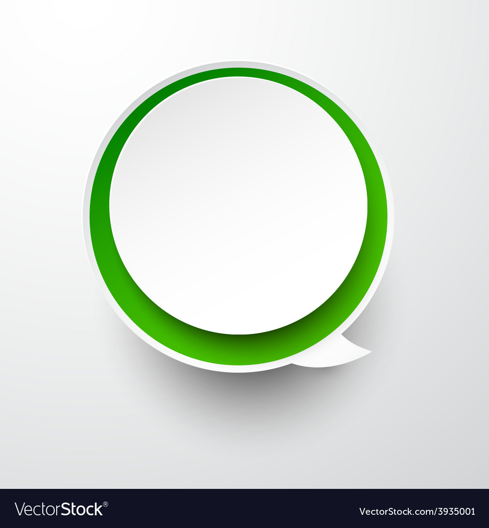 Paper white-green round speech bubble vector | Price: 1 Credit (USD $1)