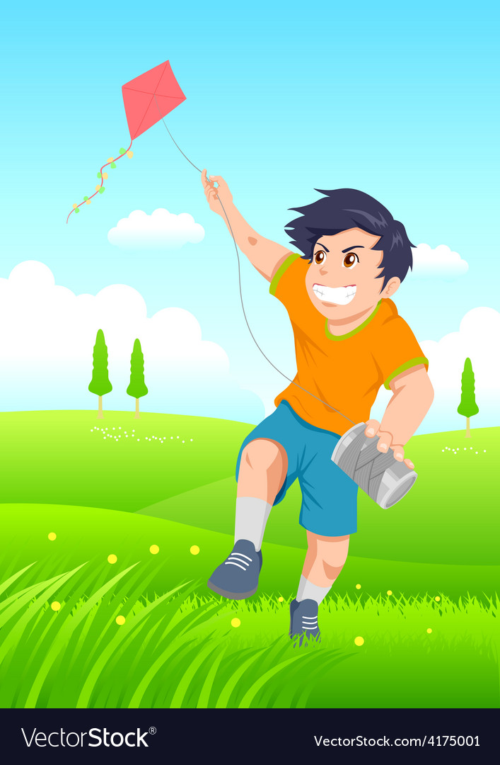 Playing a kite vector | Price: 1 Credit (USD $1)