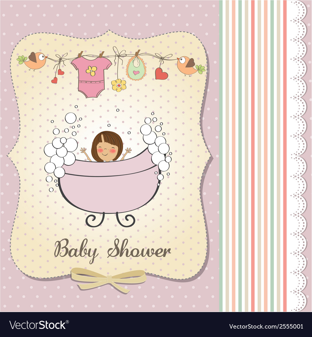 Romantic baby girl shower card vector | Price: 1 Credit (USD $1)