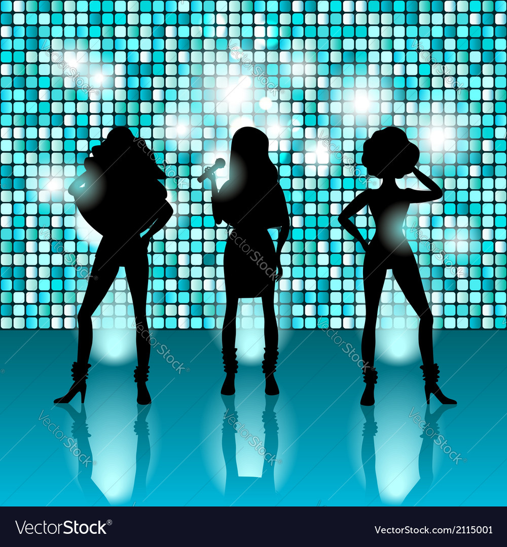 Singing girls disco style vector | Price: 1 Credit (USD $1)