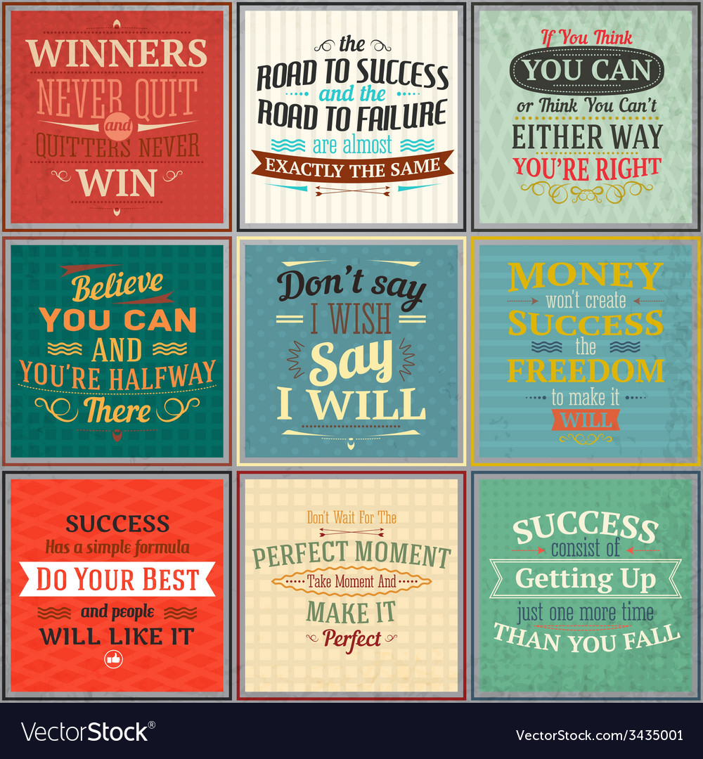 Success quotes colored set vector | Price: 1 Credit (USD $1)