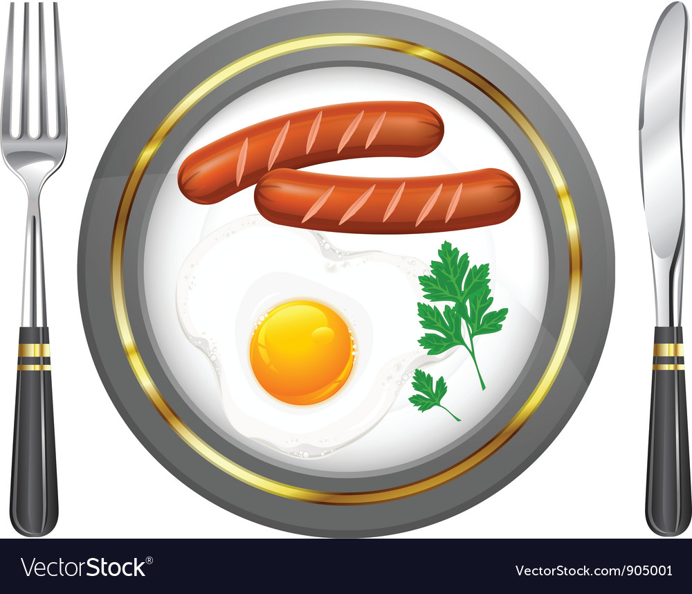 Tableware egg sausage parsley vector | Price: 3 Credit (USD $3)