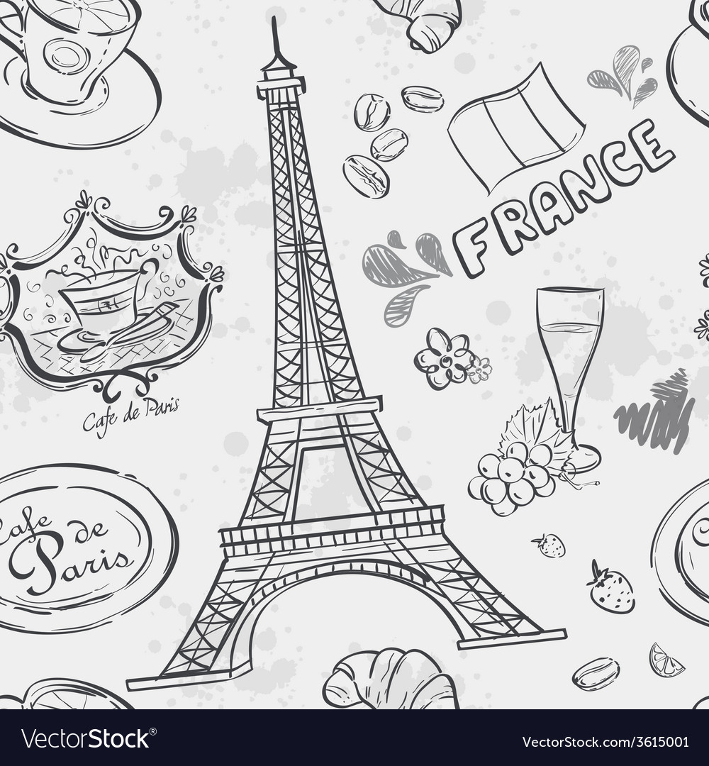 Texture with the image of the eiffel tower vector | Price: 1 Credit (USD $1)