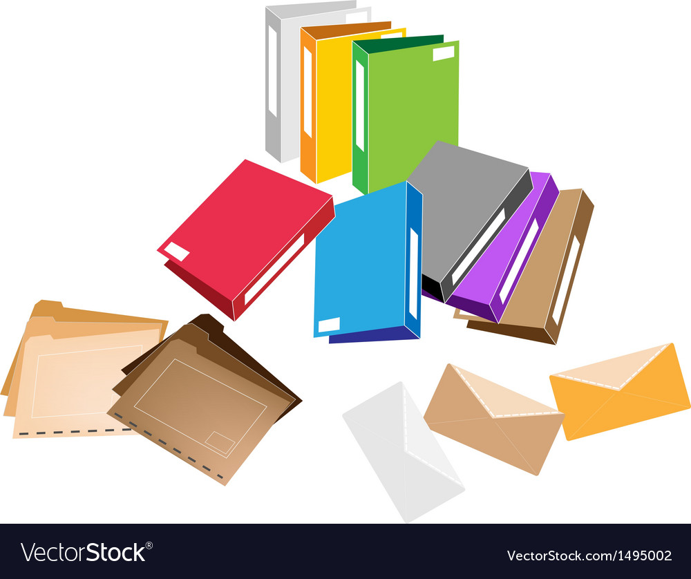 A set of office folder and close envelope vector | Price: 1 Credit (USD $1)