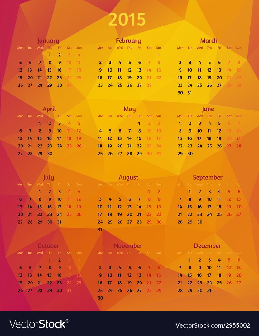 Abstract 2015 year polygonal calendar vector | Price: 1 Credit (USD $1)