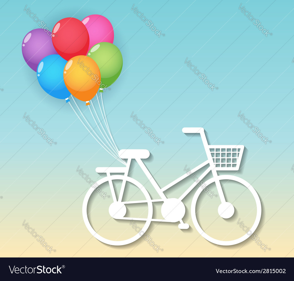 Bicycle with balloons vector | Price: 1 Credit (USD $1)