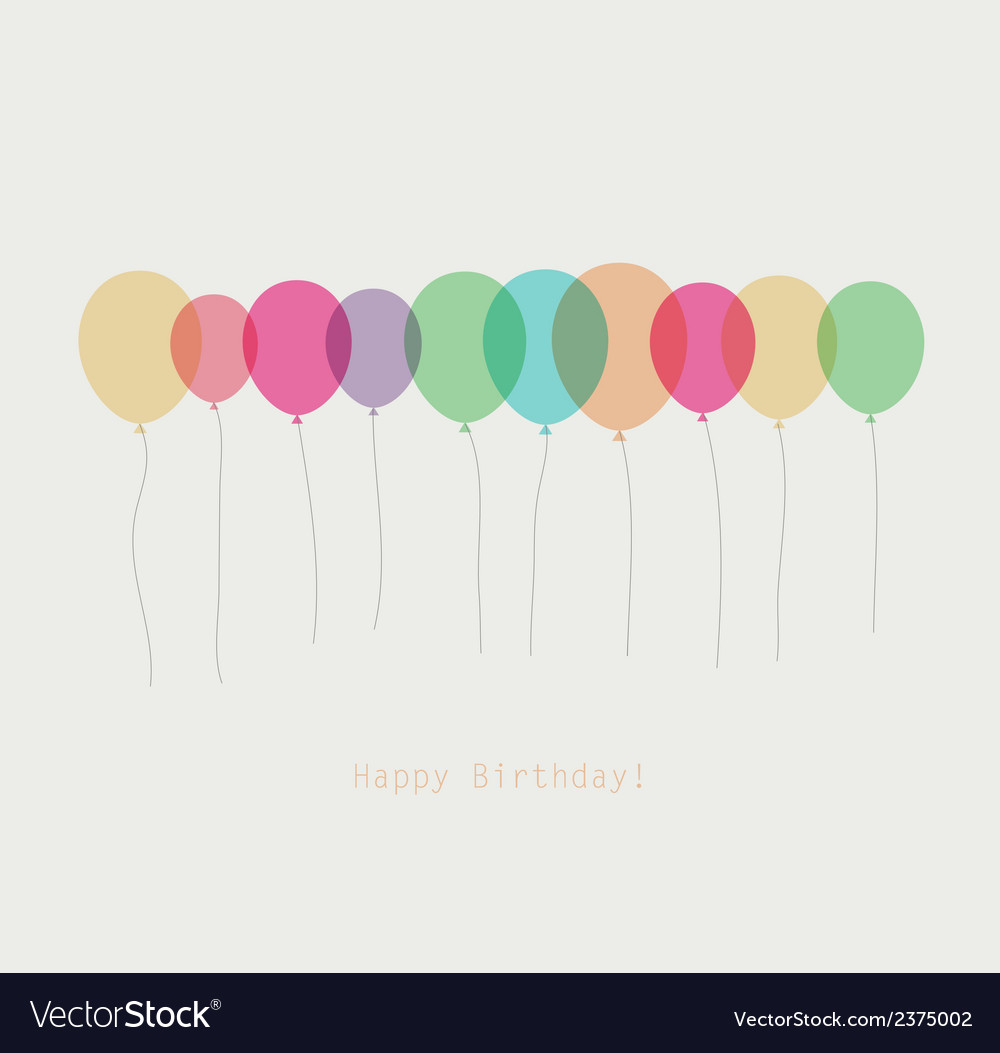 Birthday card with colorful transparent balloons vector | Price: 1 Credit (USD $1)