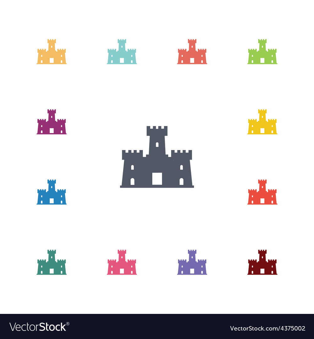 Castle flat icons set vector | Price: 1 Credit (USD $1)