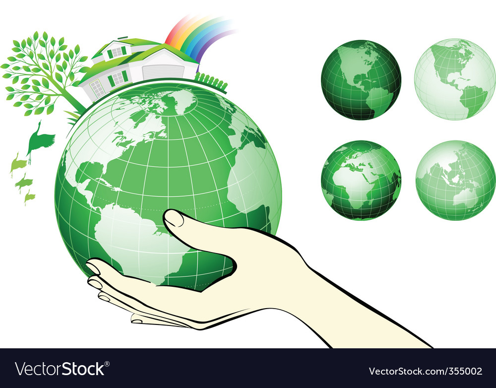 Earth globe in hands protected vector | Price: 1 Credit (USD $1)