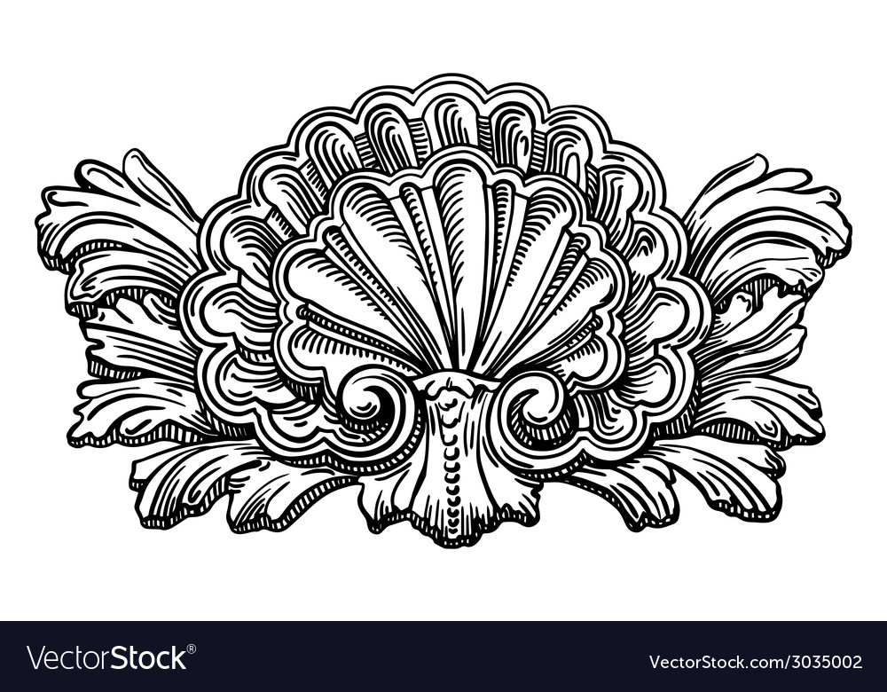 Heraldry clam shell sketch calligraphic drawing vector | Price: 1 Credit (USD $1)