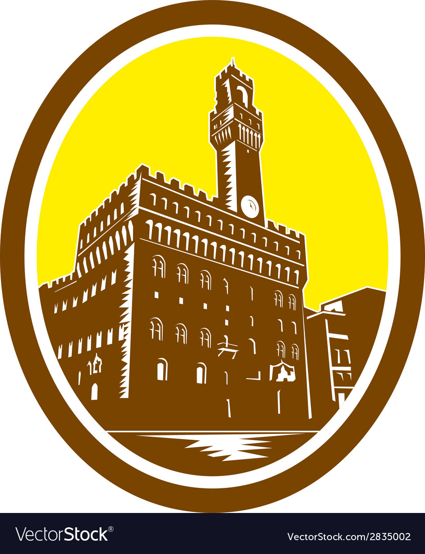 Tower of palazzo vecchio florence low woodcut vector   Price: 1 Credit (USD $1)