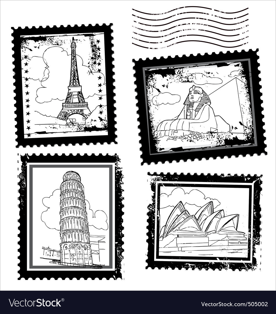 World landmarks stamps vector | Price: 1 Credit (USD $1)