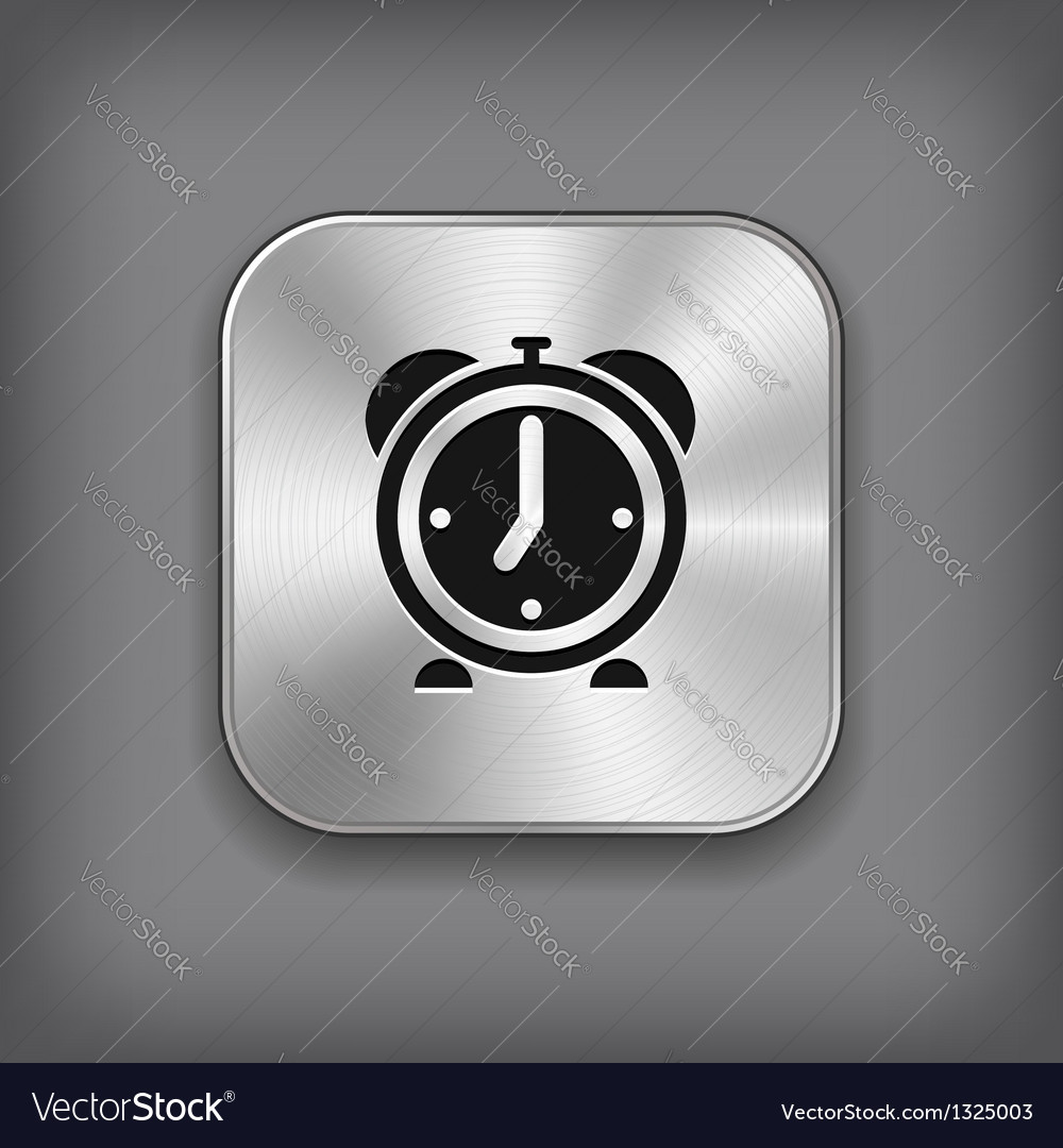 Alarm clock icon - metal app button vector | Price: 1 Credit (USD $1)