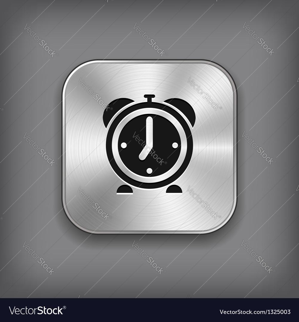 Alarm clock icon - metal app button vector | Price: 1 Credit (USD $1)