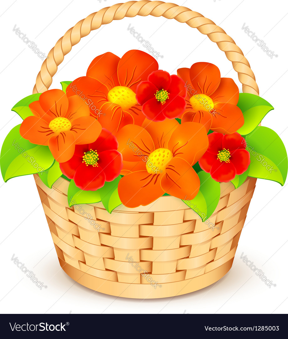 Basket with beautiful flowers vector | Price: 1 Credit (USD $1)