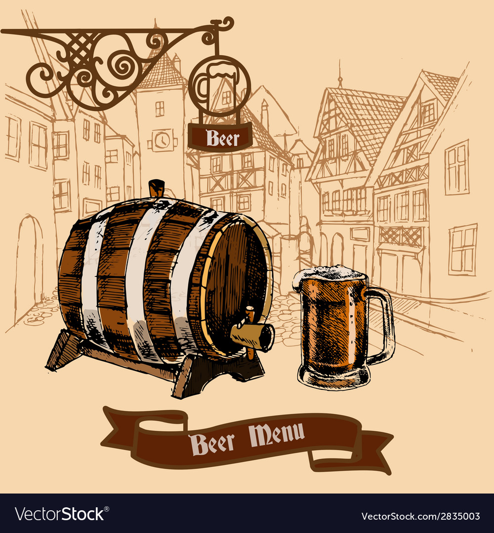 Beer bar menu sketch vector | Price: 1 Credit (USD $1)