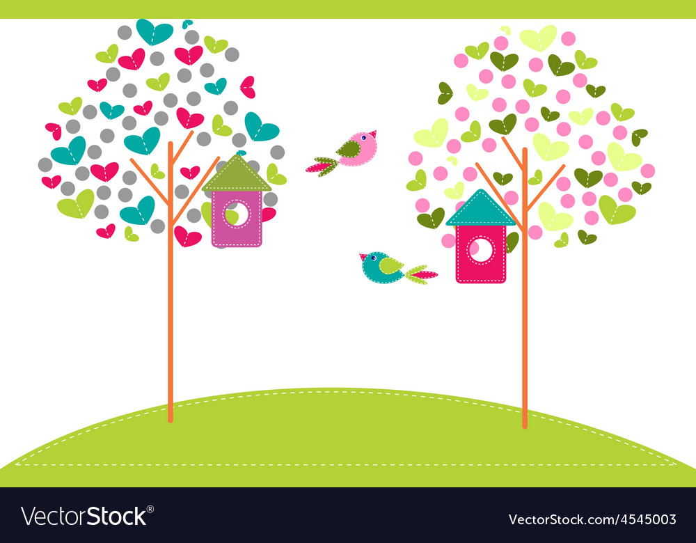 Birdhouses on trees vector