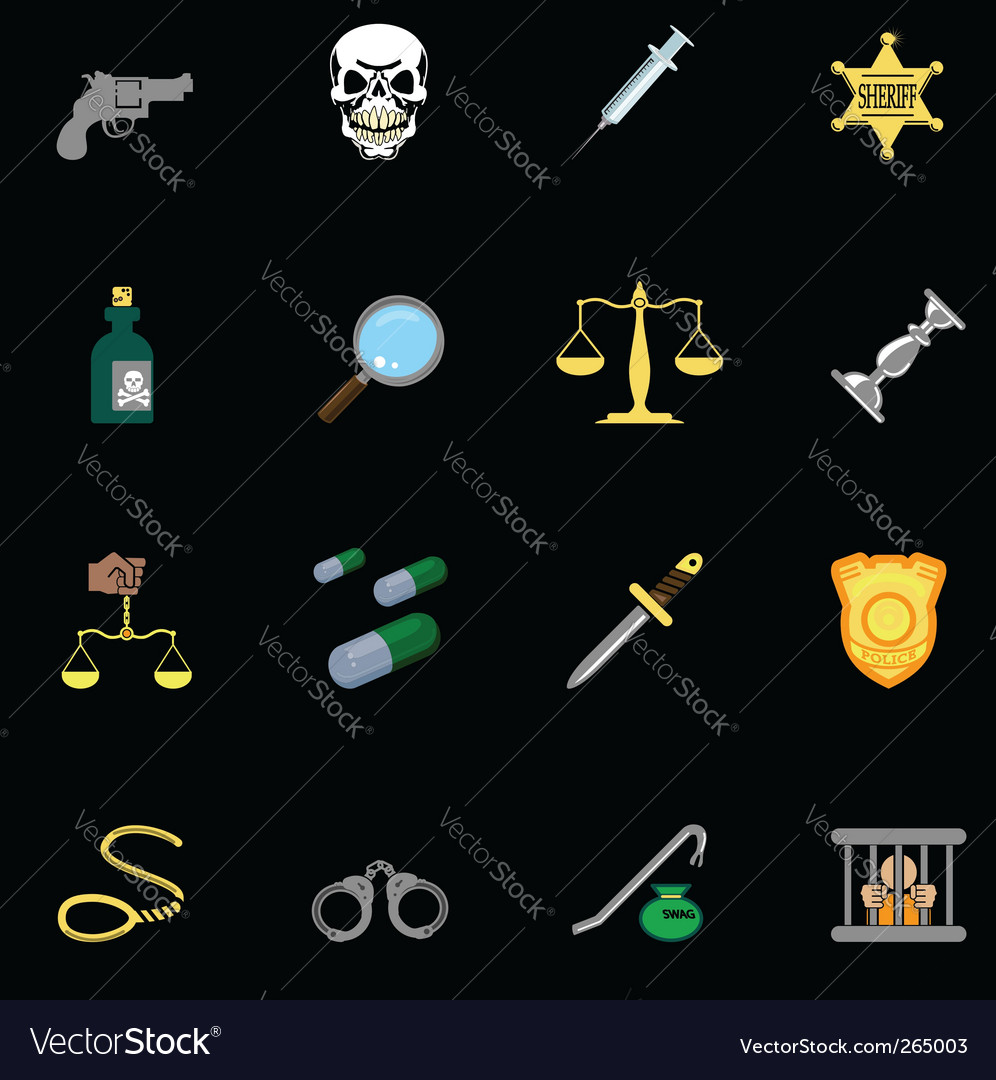 Crime icons vector | Price: 3 Credit (USD $3)